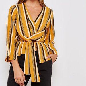 TOPSHOP Tiffany Stripe Asymmetrical Blouse Sz. 10
